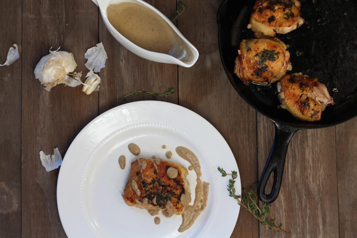 Garlic Thyme Skillet Chicken & Gravy
