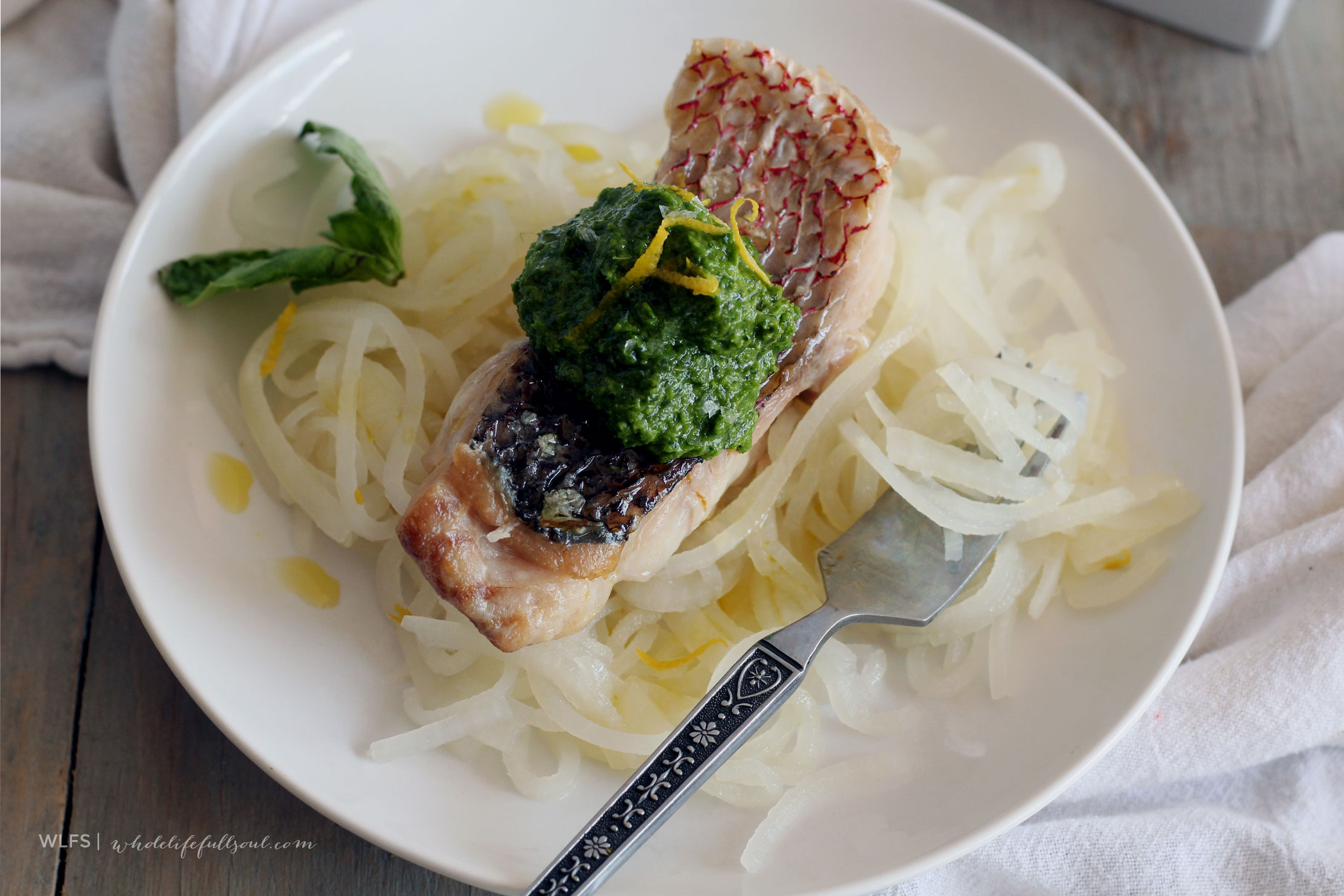 Super Green Pesto with Broiled Red Snapper