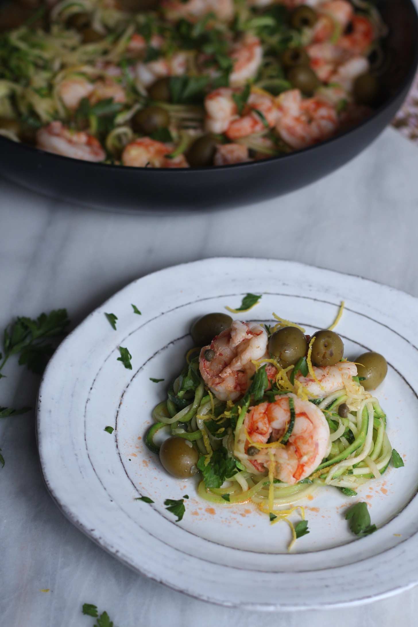 Zuchinni Noodle & Shrimp Pasta